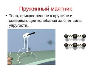 Пружинный маятник Тело, прикрепленное к пружине и совершающее колебания за сч