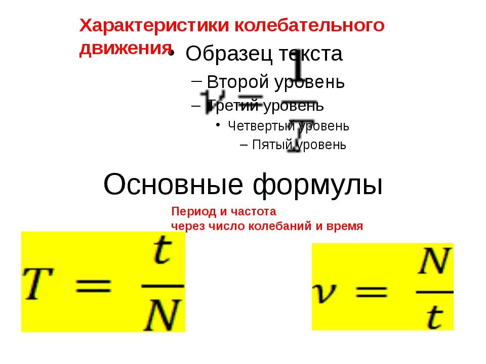 Основные формулы Характеристики колебательного движения Период и частота чере...