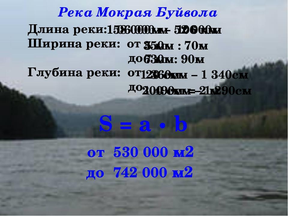 Длина реки: Ширина реки: от до Глубина реки: от до 158 000м – 52 000м 350м :...