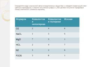 Определите виды химической связи в предложенных веществах и обведите правильн