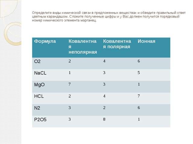 Определите виды химической связи в предложенных веществах и обведите правильн...