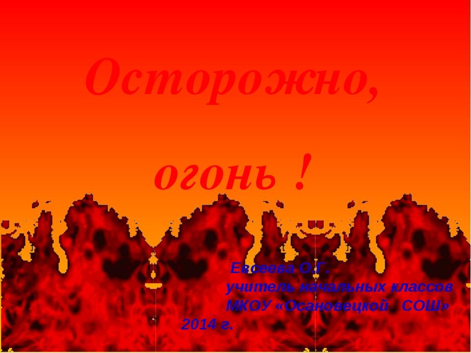 Осторожно, огонь ! Евсеева О.Г. учитель начальных классов МКОУ «Осановецкой С...