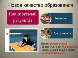 Новое качество образования Знания (предметный) Личностный рост (личностный) П