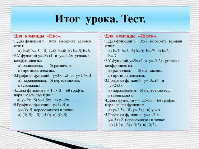 Для команды «Икс». 1.Для функции у = 8-5х выберите верный ответ а) k=8; b=-5,...