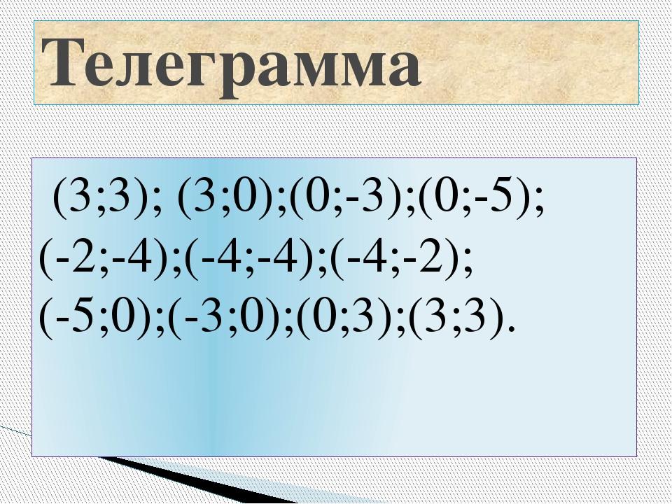 (3;3); (3;0);(0;-3);(0;-5); (-2;-4);(-4;-4);(-4;-2); (-5;0);(-3;0);(0;3);(3;...