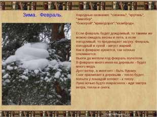 """Зима. Февраль. Народные названия: """"снежень"""", """"крутень"""", """"зимобор"""", """"бокогрей"""
