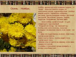 """Осень. Ноябрь. Ноябрь- древне-русское название грудень , от """"груда"""" - мерзла"""