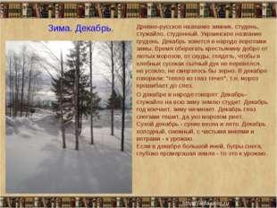 Зима. Декабрь. Древне-русское название зимник, студень, стужайло, студенный.