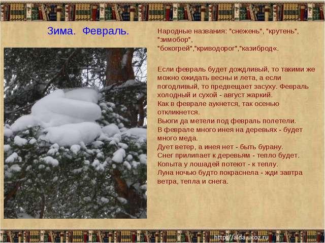 """Зима. Февраль. Народные названия: """"снежень"""", """"крутень"""", """"зимобор"""", """"бокогрей..."""