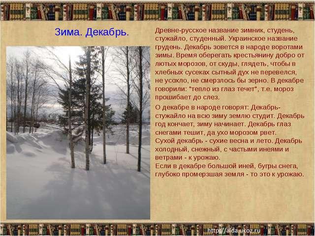 Зима. Декабрь. Древне-русское название зимник, студень, стужайло, студенный....