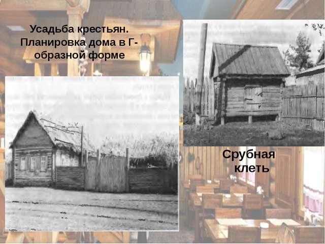 Усадьба крестьян. Планировка дома в Г-образной форме Срубная клеть