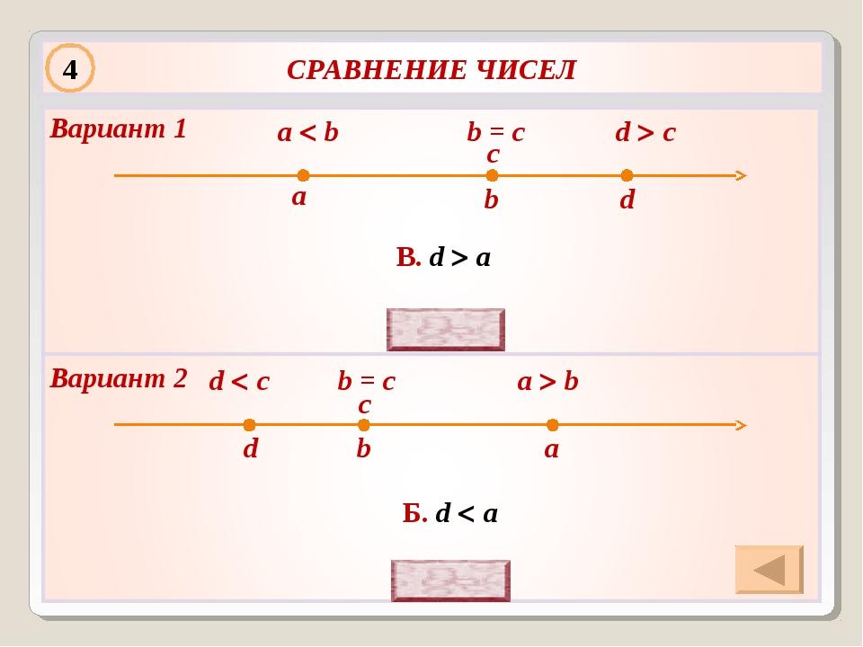d  c a  b b = c b a c d В. d  a d  c a  b b = c b a c d Б. d  a 4 Вариа...