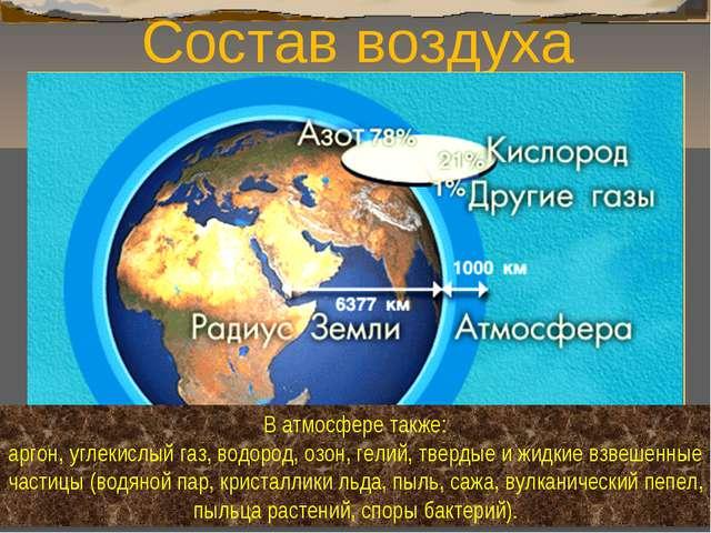Состав воздуха В атмосфере также: аргон, углекислый газ, водород, озон, гелий...