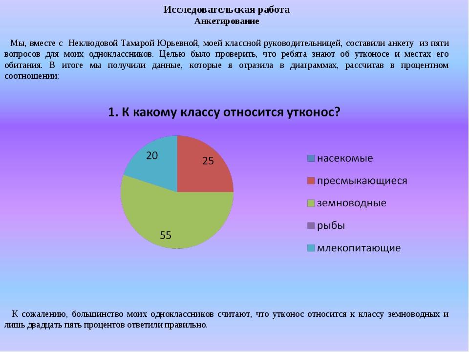 Исследовательская работа Анкетирование Мы, вместе с Неклюдовой Тамарой Юрьевн...