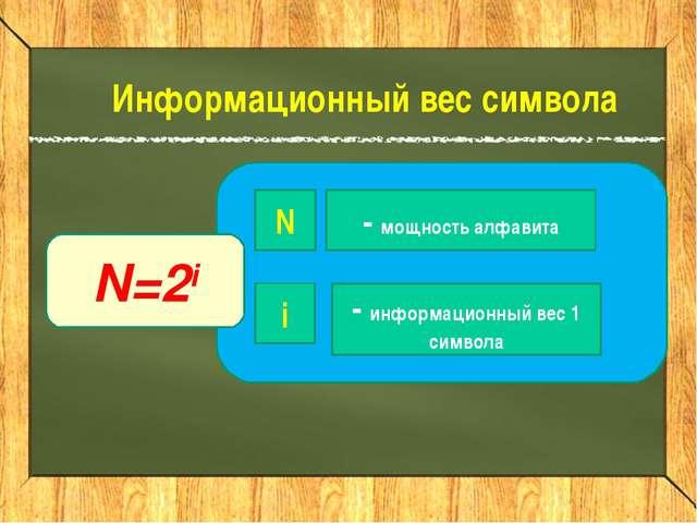Информационный вес символа N=2i N i - мощность алфавита - информационный вес...