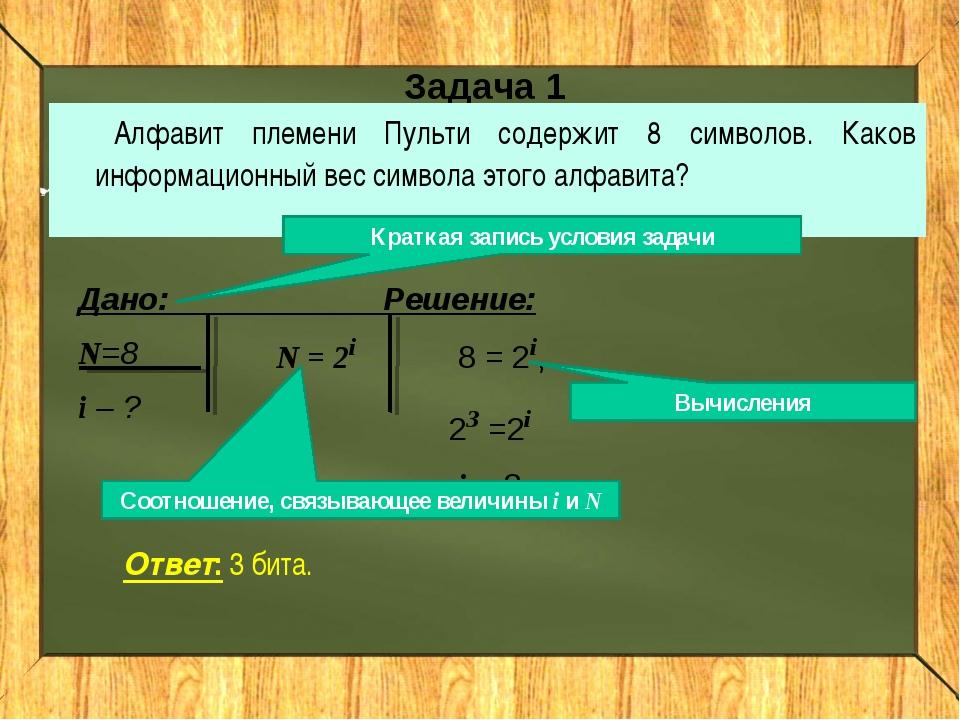 Задача 1 Алфавит племени Пульти содержит 8 символов. Каков информационный вес...