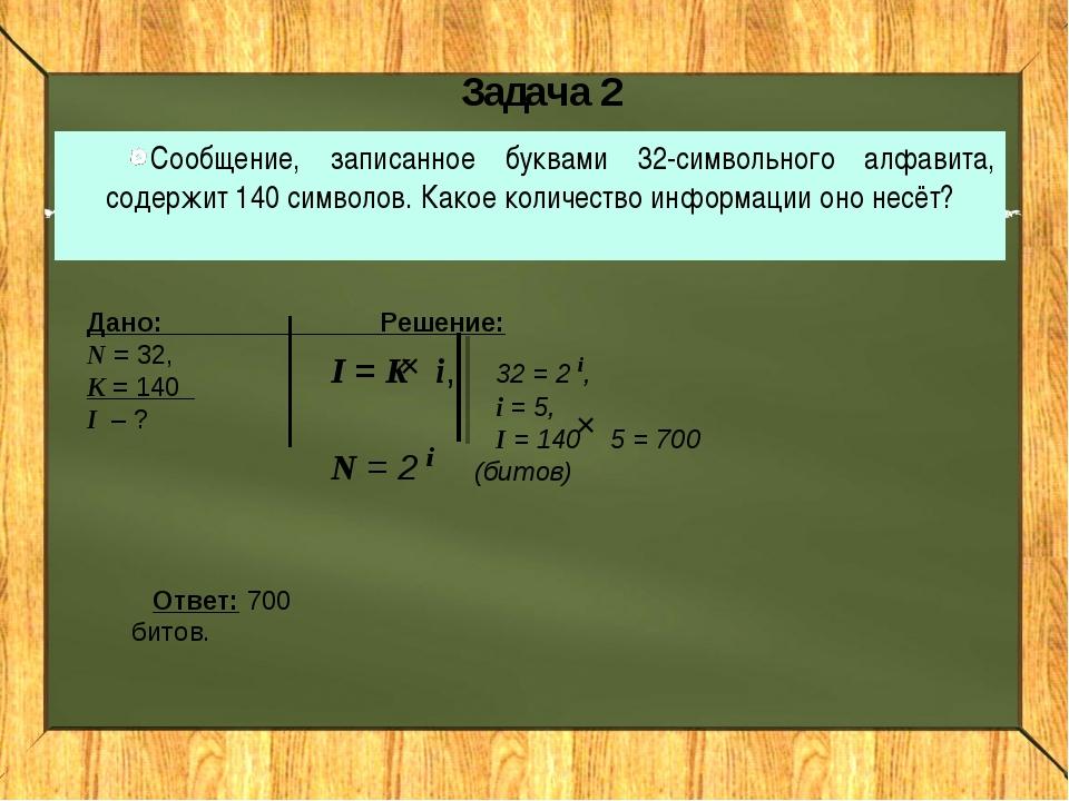Задача 2 Сообщение, записанное буквами 32-символьного алфавита, содержит 140...