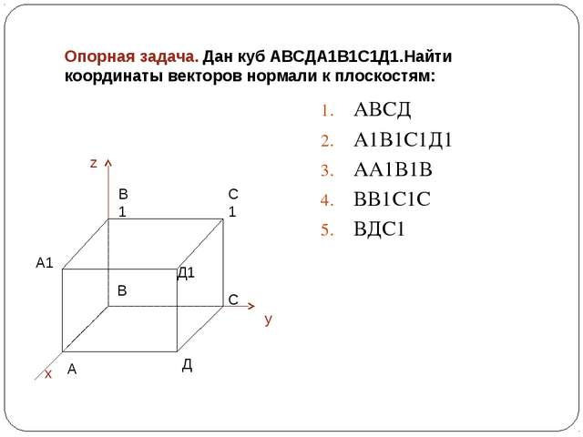 Опорная задача. Дан куб АВСДА1В1С1Д1.Найти координаты векторов нормали к плос...