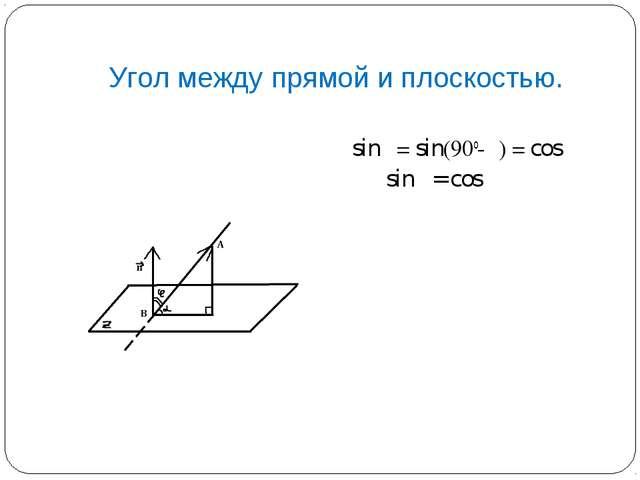Угол между прямой и плоскостью. sinα = sin(90o-φ) = cosφ sinα = cosφ