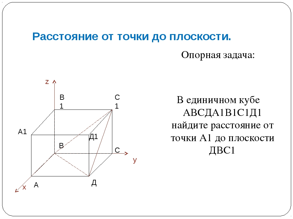 Расстояние от точки до плоскости. Опорная задача: В единичном кубе АВСДА1В1С1...