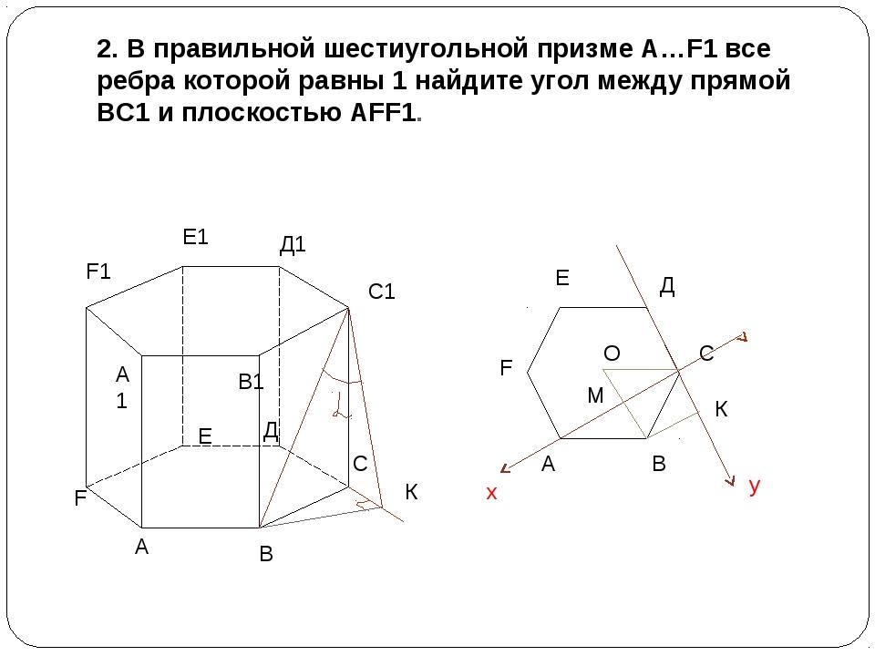 2. В правильной шестиугольной призме А…F1 все ребра которой равны 1 найдите у...