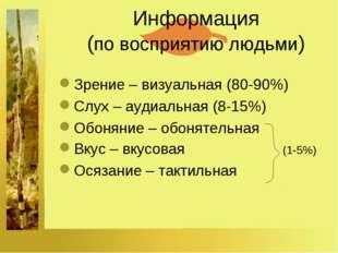 Информация (по восприятию людьми) Зрение – визуальная (80-90%) Слух – аудиал