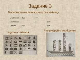 Задание 3 Выполни вычисления и заполни таблицу Кодовая таблица Расшифруйте со