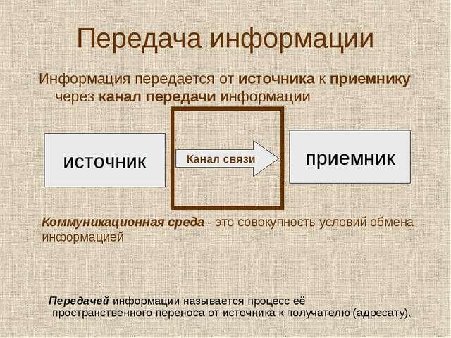 Передача информации Информация передается от источника к приемнику через кана...