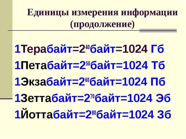 Единицы измерения информации (продолжение) 1Терабайт=240байт=1024 Гб 1Петаба...