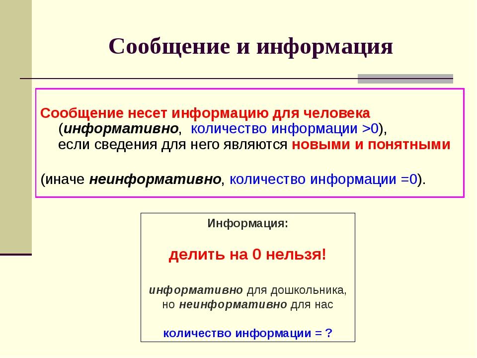 Сообщение и информация Сообщение несет информацию для человека (информативно,...