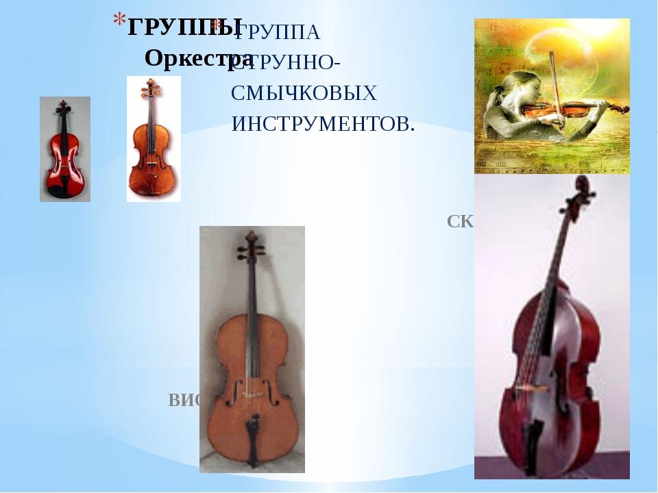 ГРУППЫ Оркестра ГРУППА СТРУННО- СМЫЧКОВЫХ ИНСТРУМЕНТОВ. СКРИПКА АЛЬТ ВИОЛОНЧЕ...