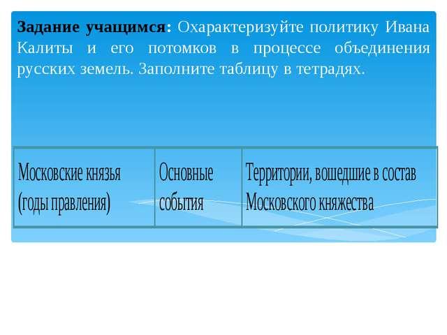 Задание учащимся: Охарактеризуйте политику Ивана Калиты и его потомков в про...