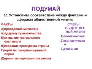 ПОДУМАЙ 10. Установите соответствие между фактами и сферами общественной жизн