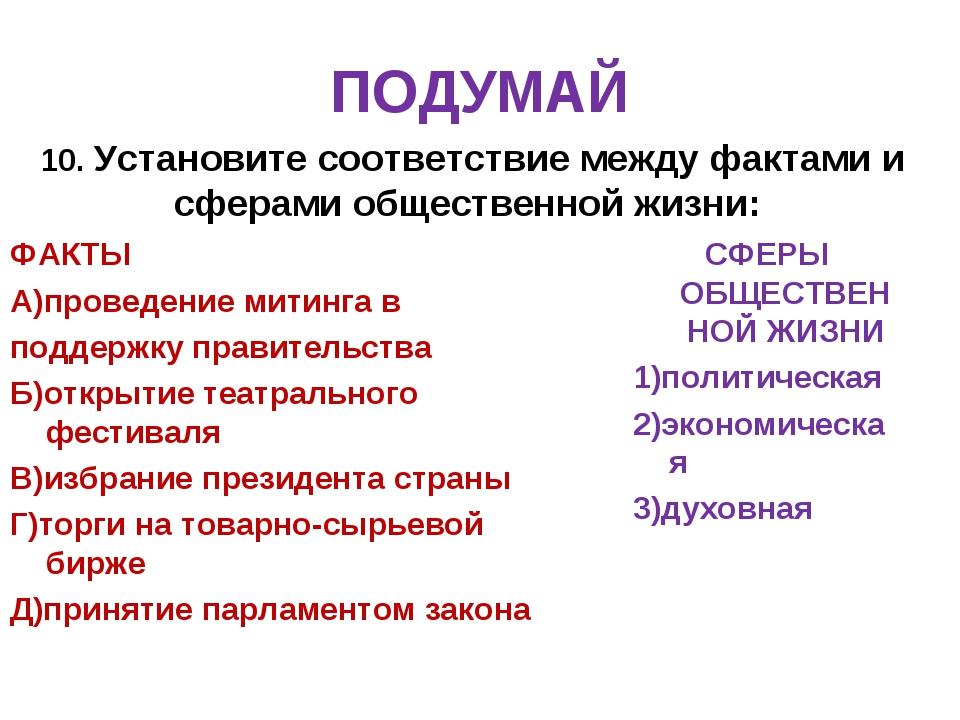 ПОДУМАЙ 10. Установите соответствие между фактами и сферами общественной жизн...