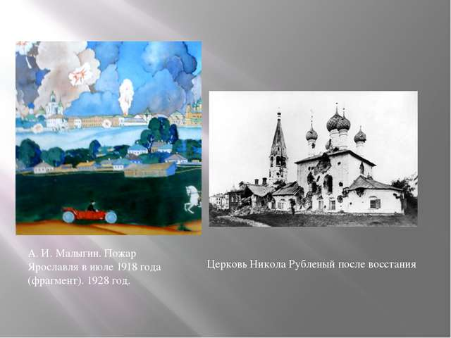 А. И. Малыгин. Пожар Ярославля в июле 1918 года (фрагмент). 1928 год. Церковь...