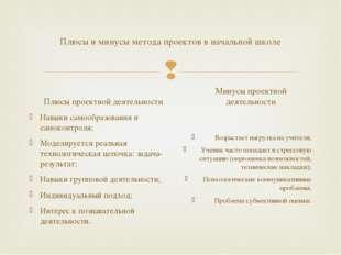 Плюсы и минусы метода проектов в начальной школе Плюсы проектной деятельности