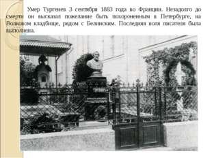 Умер Тургенев 3 сентября 1883 года во Франции. Незадолго до смерти он высказ