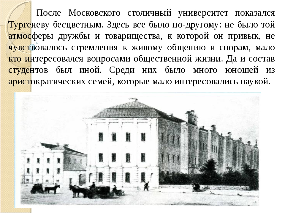 После Московского столичный университет показался Тургеневу бесцветным. Здес...