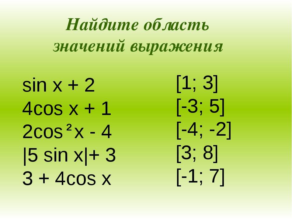 sin x + 2 4cos x + 1 2cos x - 4 |5 sin x|+ 3 3 + 4cos x [1; 3] [-3; 5] [-4;...