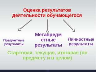 Оценка результатов деятельности обучающегося Предметные результаты Метапредме