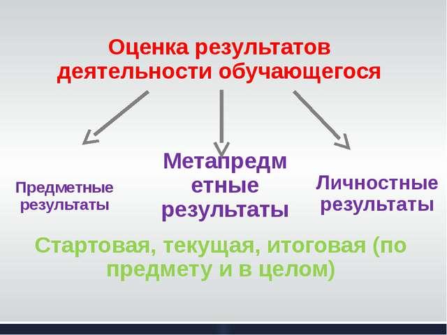 Оценка результатов деятельности обучающегося Предметные результаты Метапредме...