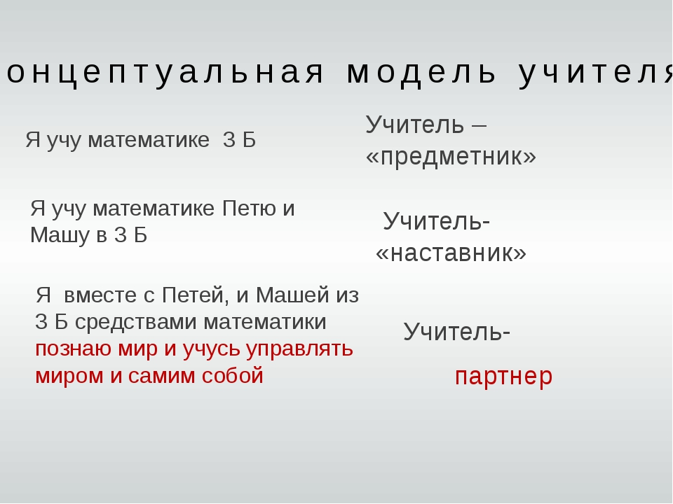 концептуальная модель учителя Я учу математике 3 Б Я учу математике Петю и Ма...