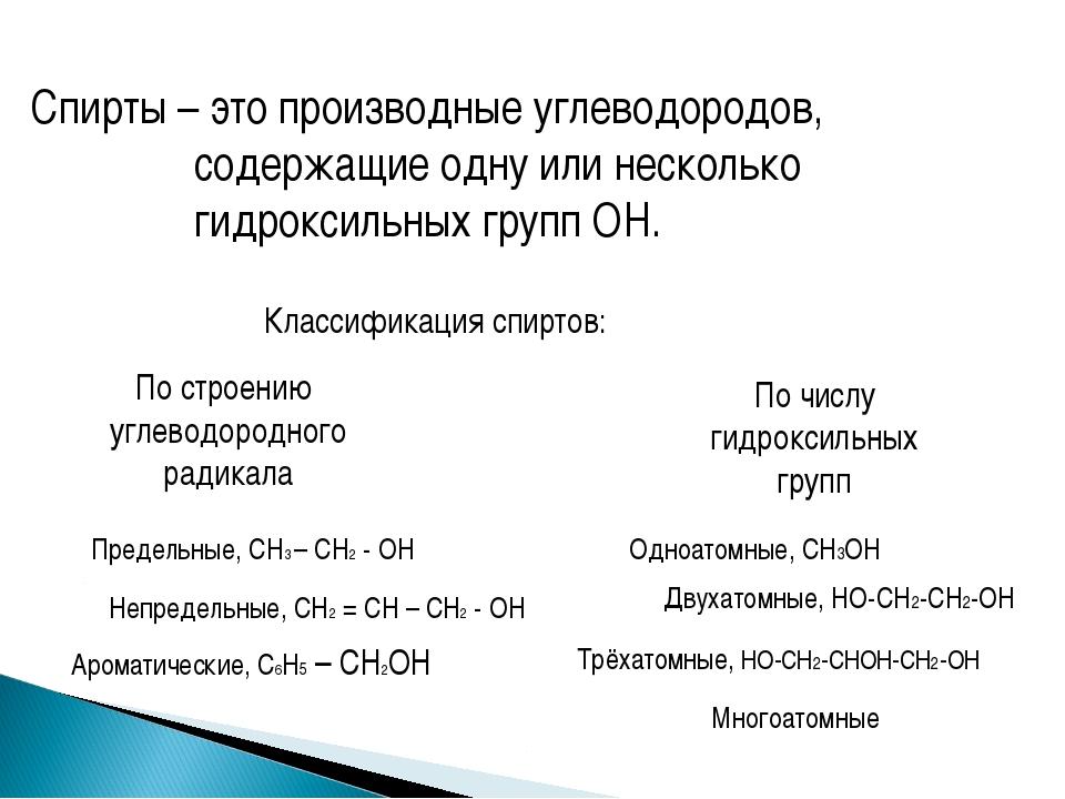 Спирты – это производные углеводородов, содержащие одну или несколько гидрокс...