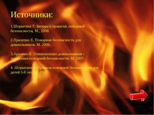 Источники: Шорыгина Т. Беседы о правилах пожарной безопасности, М., 2008. При