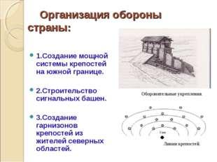 Организация обороны страны: 1.Создание мощной системы крепостей на южной гра