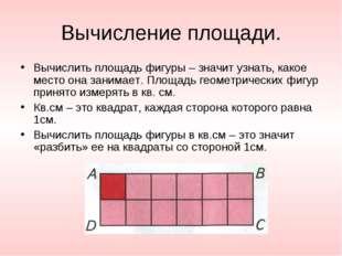 Вычисление площади. Вычислить площадь фигуры – значит узнать, какое место она
