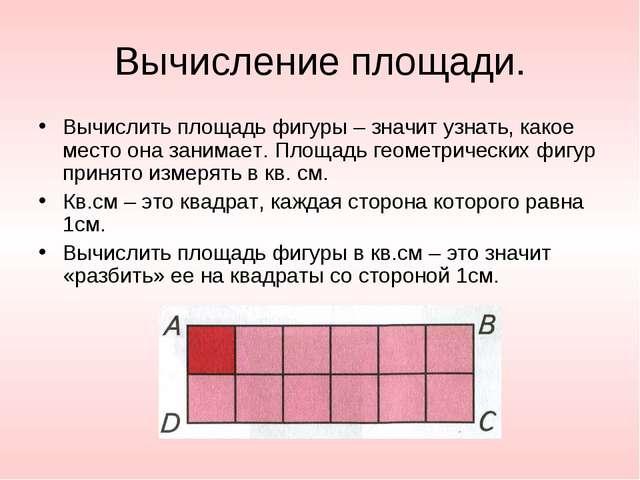 Вычисление площади. Вычислить площадь фигуры – значит узнать, какое место она...