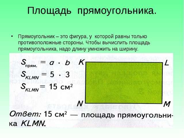 Площадь прямоугольника. Прямоугольник – это фигура, у которой равны только пр...