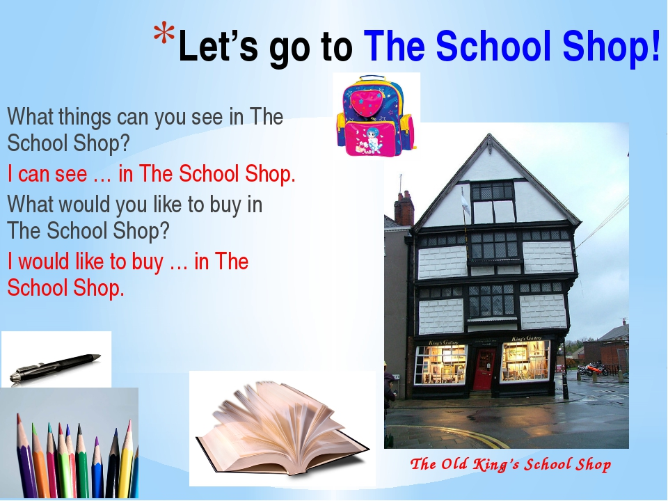 Let's go to The School Shop! What things can you see in The School Shop? I c...