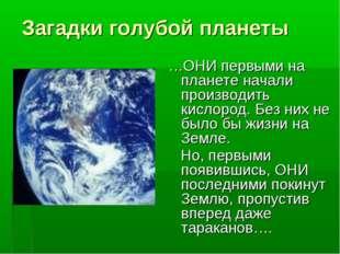 Загадки голубой планеты …ОНИ первыми на планете начали производить кислород.